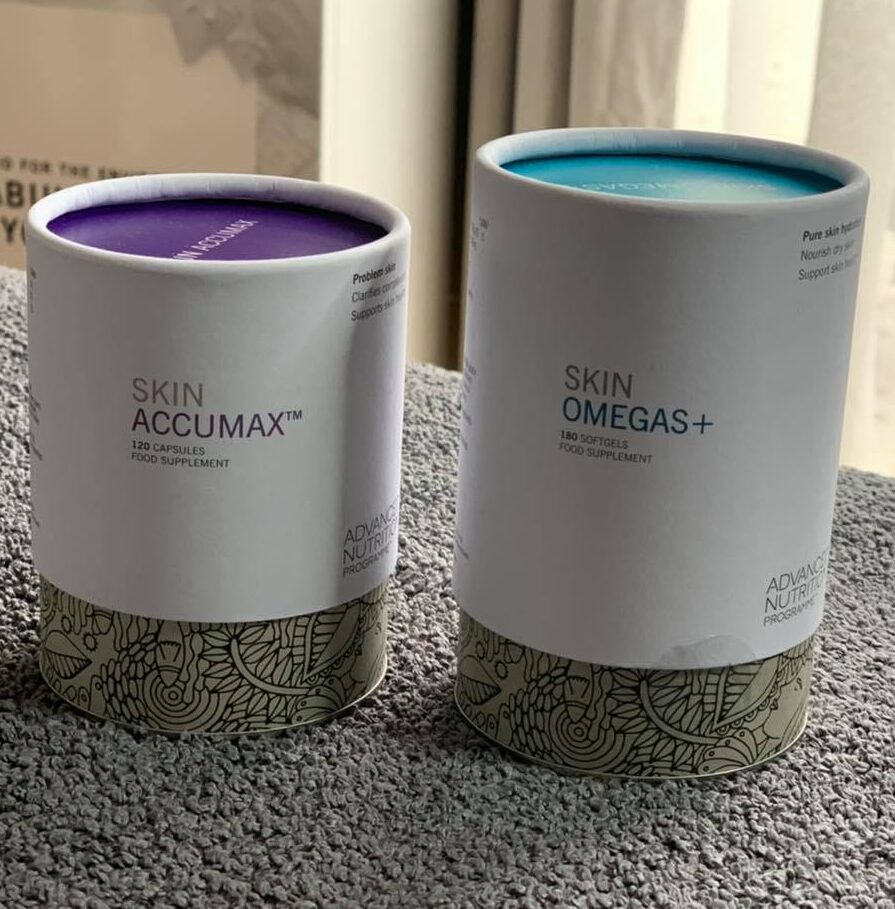 Photo Advanced Nutrition Programme Skin Accumax and Skin Omegas supplements