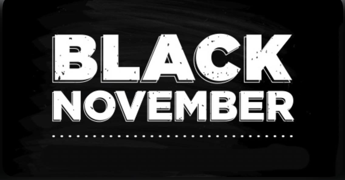 Black November logo - skincare products and treatment deals delivered to your inbox