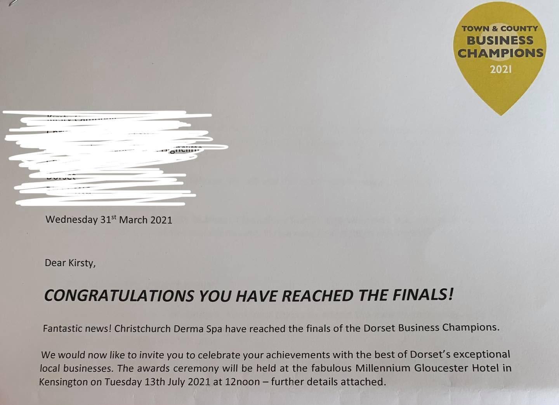 Dorset Business Champions Finalist 2021 letter for Christchurch Derma Spa